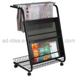Top Movable Metal Newspaper Magazine Rack