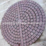 Red Porphyry Stone on Mesh for Garden Paving