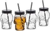 Clear 12oz Glass Mugs with Reusable Straws Glass Mason Jar for Juice, Party Use