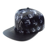 Custom Black PU Leather Cap Snapback Hat with 3D Embroidery Logo