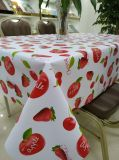 Little Red Strawberry Small Fresh Style Fruit Patterns Polyester Fabric Backing Tablecloth