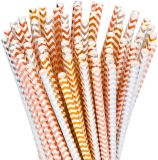 Biodegradable Paper Straws 100-Pack - Gold, Rose Gold, Silver Drinking Straws for Bridal Shower, Baby Shower, Birthday, Wedding Decorations, Party Supplies