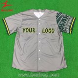 Healong New Grey Color Design of American Baseball Jersey Shirt
