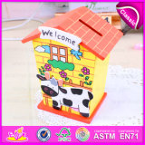 Hot New Product for 2015 Wooden Coin Saving Box, Cheap Mini House Toy Money Safe Box, Hot Sale Money Saving Box W02A026