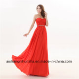 Women Chiffon Sweetheart Crystals A-Line Long Evening Dress