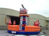 Inflatable Fire Man Themed Climbing Wall Sport Games