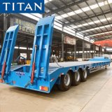 China Tri/3/4 Axles 60t 80t 100 Tons Heavy Duty Excavator Transport Lowbed Truck Low Loader Flatbed Stepped Step Drop Deck Low Bed Semi Trailer for Sale Price