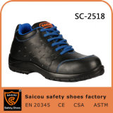 Smooth Leather Black PU Injection Outsole Safety Worker Shoes Sc-2518