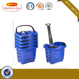 50L Supermarket Plastic Rolling Shopping Basket with 4 Wheels