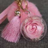 Promotional Gift Plush Ball Key Chain with Kunming Preserved Forever Rose Flowers