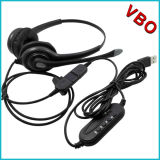 USB Telephone Headset for Call Center with Qd