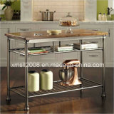 The Orleans Kitchen Cart with Wood Top Metal Cart with CE (G-KC06)