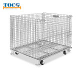 Foldable Collapsible Stackable Warehouse Storage Steel Metal Wire Mesh Roll Cage Container