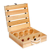 Customized Hinged Cheap 4 Bottle Wooden Wine Box with Flip Lid