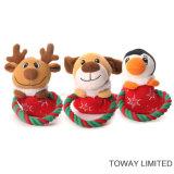 Christmas Dog Products Flocked Rope Animal Pet Plush Toys