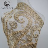Gold Color 3D Beaded Lace Fabric Embroidery