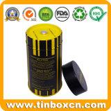 Tall Matt Varnish Food Grade Round Metal Box Airtight Tea Tin with Inner Lid and Rivet and Knob