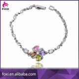 Simple Design Colorful CZ Silver Charm Fashion Bracelet Jewelry