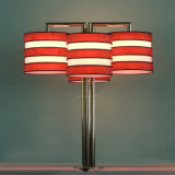 Decorative Modern Wood Veneer Fabric Shade Table Lamp for Public Area