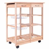 New Rolling Dining Storage Drawers Stand Durable Wood Kitchen Cart