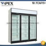 Glass Door Vertical Cooler with LED Light and Top Compressor System