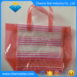 Custom Color Printed Clear PVC Zip Tote Bag with Handle