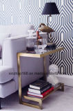 Living Room Sofa Bookshelf Stainless Steel with Glass Coffee Table
