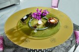Tempered Glass Flower Pattern Top Stainless Steel Base with Lazy Susan Disassemble Wedding Dining Table