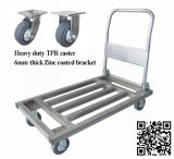 700kg Platform Square Steel Tube Handcart with TPR Caster
