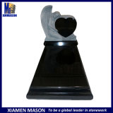 Hot Sale South Africa Style Shanxi Black Granite Gravestones with Carved Weeping Angel Design