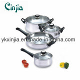 Nonstick 7PCS Stainless Steel Cookware Set with Glass Lid