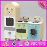 2016 Wholesale Kids Wooden Kitchen Play Toys, New Design Wooden Kitchen Play Toys with Fridge and Washing Machine W10c242