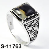 925 Silver Men Rings with Natural Agate.