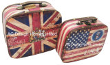 S/2 Decoration Flag Design Printing PU Leather/MDF Wooden Storage Chest Bag