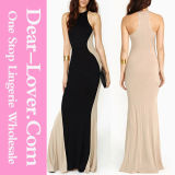 Swerve Halter Two-Tone Sexy Fashion Ladies Cocktail Evening Dress