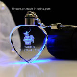 LED Heart-Shape Fashion Crystal Glass Key Chain Gift