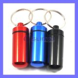 Factory Supply 48mm Long Aluminum Alloy Keychain Mini Portable Metal Pill Bottle