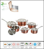 Tri Ply Copper Clad 12PCS Cookware Set Kitchenware