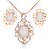 Hot Sale Cat′s Eye Flower Earring and Pendant Fashion Jewelry Necklace Set