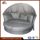 Grey Backyard Rattan Wicker Round Bed-Wf050054
