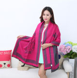 Lady Fashion Acrylic Woven Fringed Jacquard Winter Shawl (YKY4439)