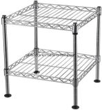 Square 2 Tiers Durable Adjustable Stackable Chrome Steel Wire Shelf Unit on Table