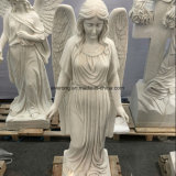 Natural White Marble Stone Angel Female Angel Sculpture for Garden Decoration