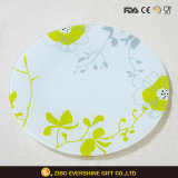 Round Flower Decal Glass Plate, Tableware