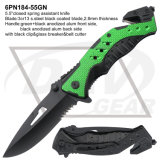 "5.5"" Spring Assistant Tactical Knife with Alum Handle: 6pn184-55gn"