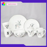 High Quality Homeware 350ml Ceramic Cup Sets Soup Bowl Decal Pastry Plate Porcelain