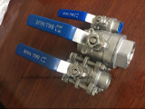 Stainless Steel 3PC Butt-Welding 3 Way Direct Mounting Pad Ball Valve