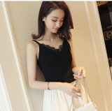 Fashion Deep V Lace Camisole for Women Black White