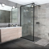 Bathroom Tempering Glass Black Aluminium Alloy Frame China Shower Screen