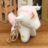 2019 New Cute Design En71 Certified Plush Toys with Golden Double Key Chain Holder Pink Panther Unicorn Flamingo Colorful Fashion Apparel Novelty Plush Soft Toy